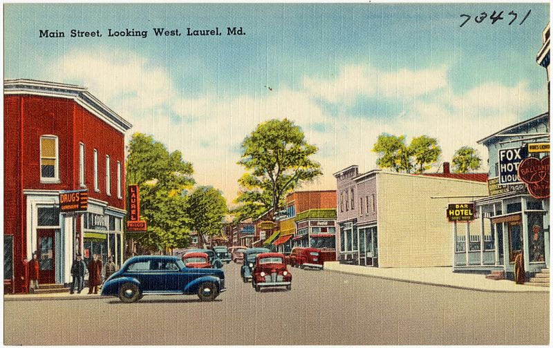 Main_Street_looking_west,_Laurel,_Md_(73471)
